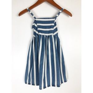 Sweet Vintage Little Girls Striped Denim Dress